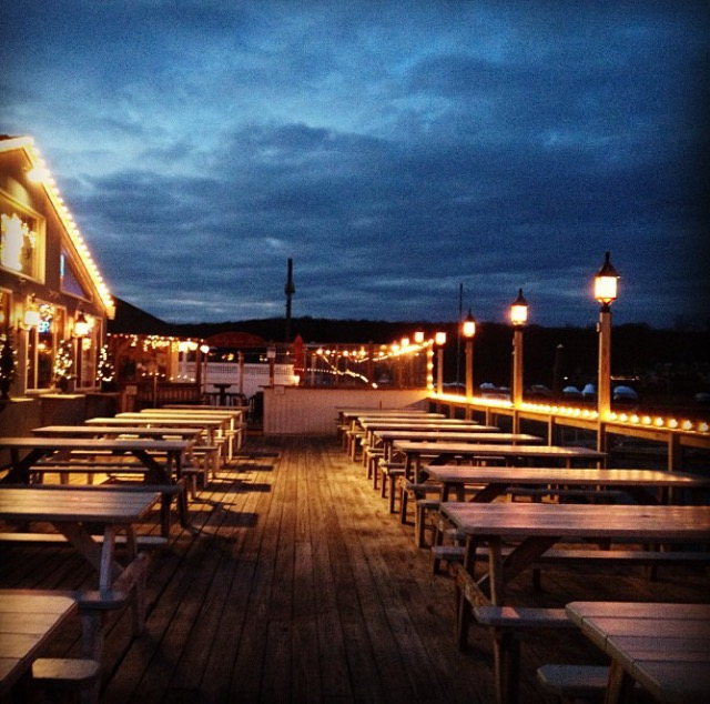 Bills Seafood Restaurant Westbrook Ct Night Deck View